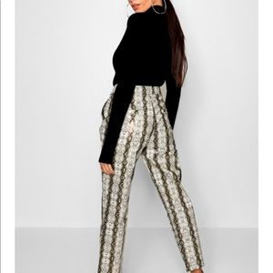 Boohoo Snake Print Faux Leather Trousers